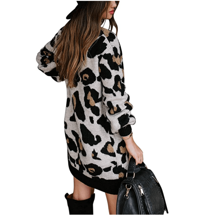 MEROKEETY Women's Leopard Knit Pullover Sweater Dress