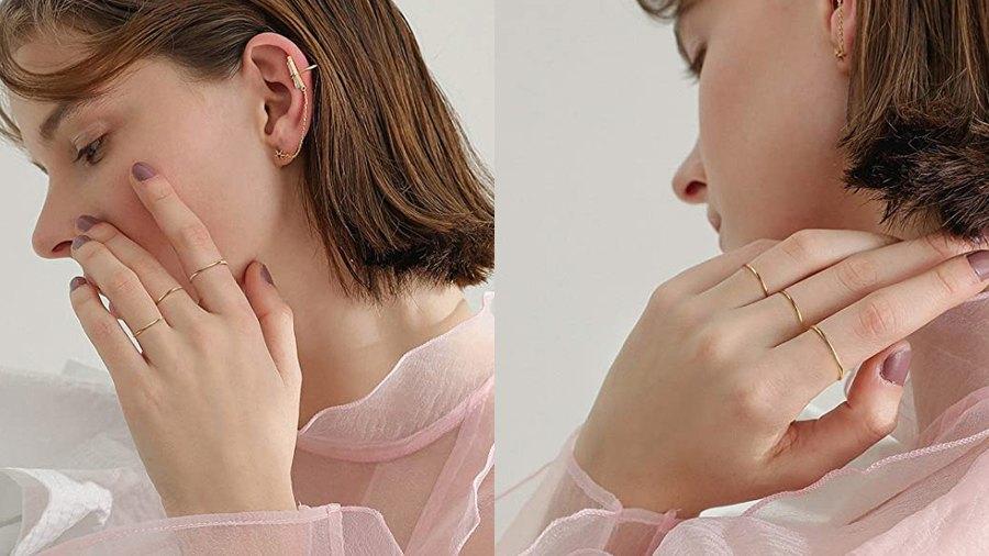 NOKMIT 1mm 14K Gold Filled Stackable Rings for Women