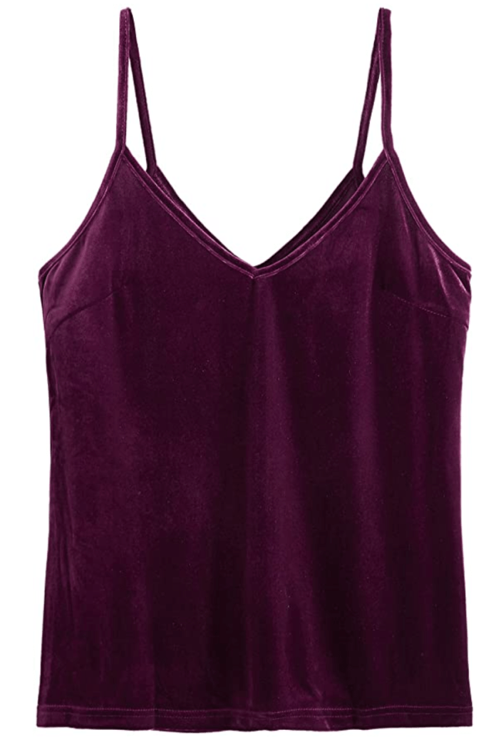 SheIn Women's Casual Basic Strappy Velvet V Neck Cami Tank Top