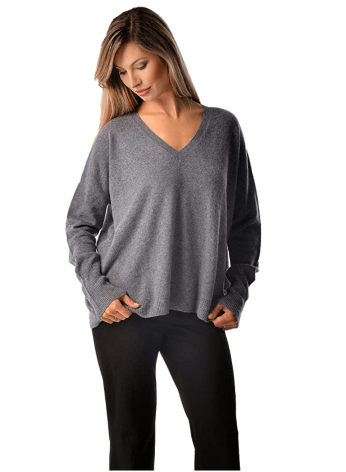 Cashmere Boutique: Women's 100% Pure Cashmere V-Neck Boyfriend Sweater