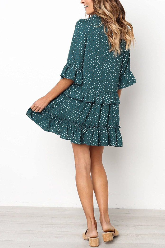 MITILLY V-Neck Ruffle Polka Dot Dress