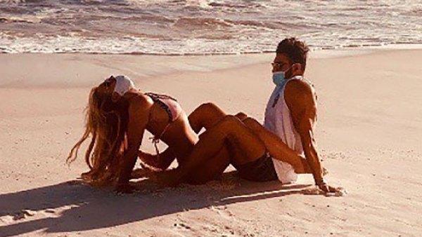 Britney Spears Locks Legs With BF Sam Asghari in a Sexy String Bikini