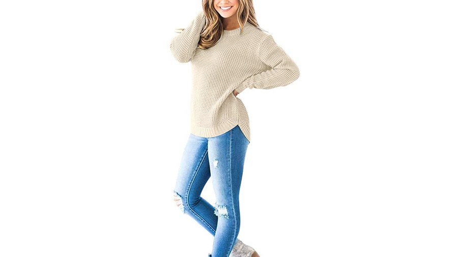 MEROKEETY Women's Long Sleeve Waffle Knit Crew Neck Pullover Top