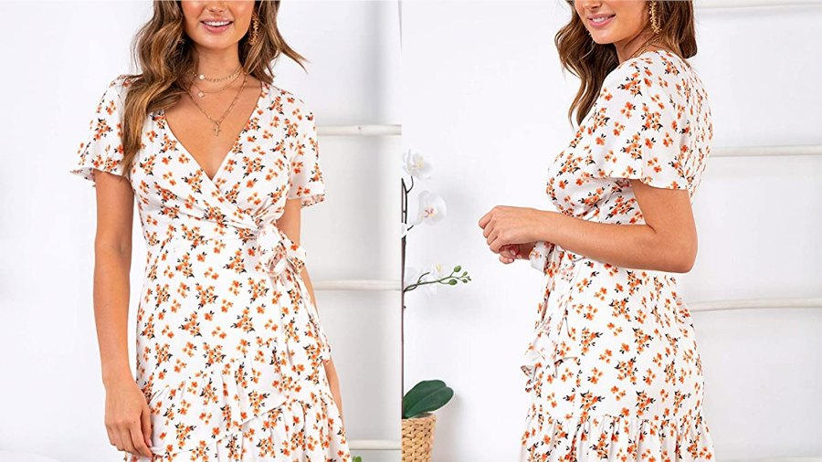 Relipop Women's Short Sleeve Print V Neck Casual Short Dress