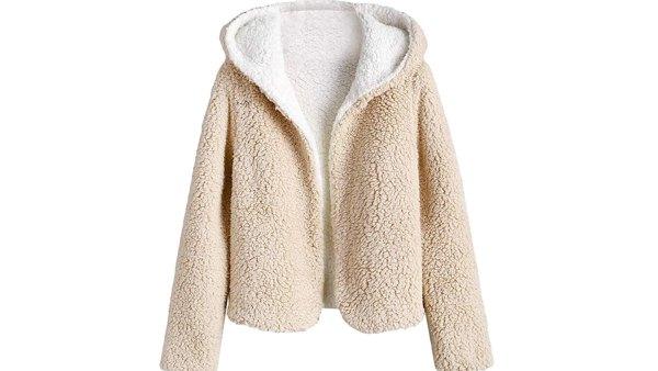 ZAFUL Women's Reversible Hooded Cropped Teddy Jacket