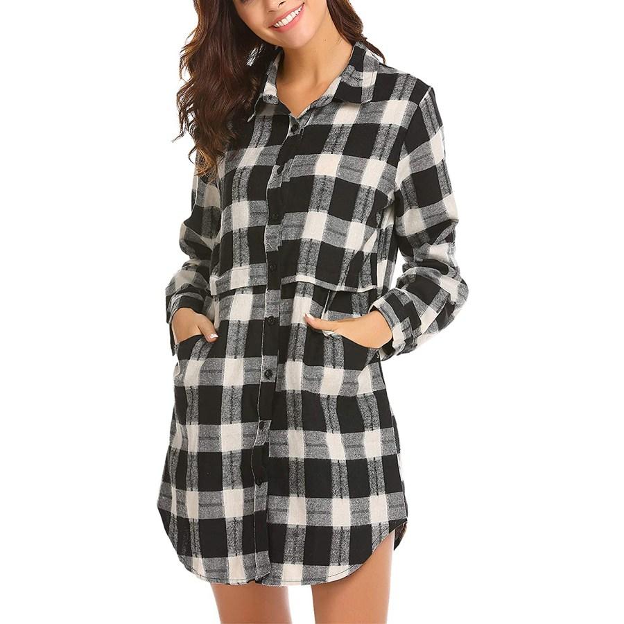 HOTOUCH Flannel Plaid Mid-Long Casual Boyfriend Shirt