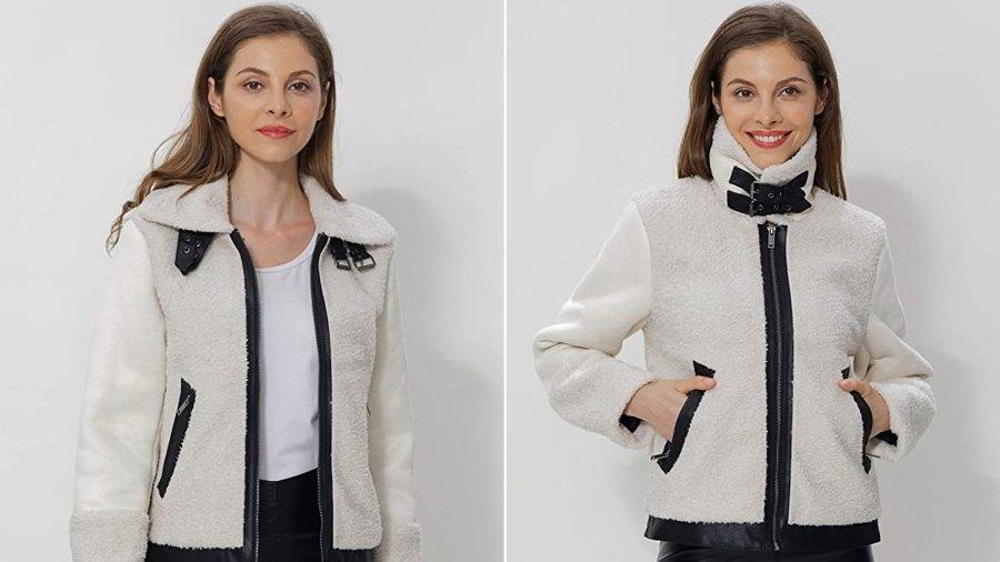 Bellivera Women's Wool Like Fuzzy Faux Fur Jacket