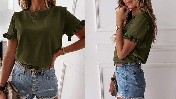 GAMISOTE Women's Ruffle Short Sleeve T Shirt Deep V Neck Top