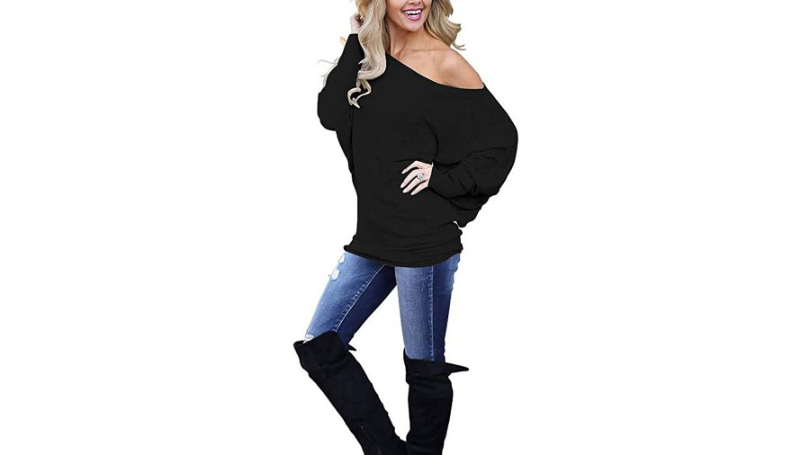 LACOZY Women's Off Shoulder Long Sleeve Oversized Pullover Knit Tunic Top