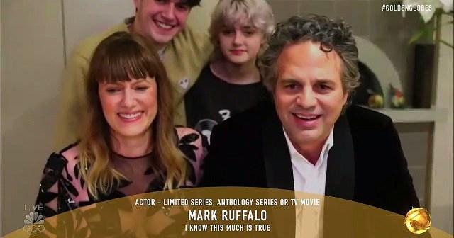 Mark Ruffalo's Kids Adorably Crash His Zoom Acceptance Speech at Golden Globes 2021: Video.jpg