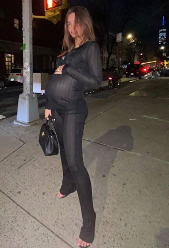 Pregnant Emily Ratajkowski Steps Out in Sexy, Sheer Catsuit