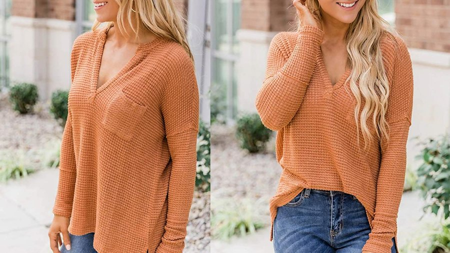Trendy Queen Women's V Neck Long Sleeve Loose Oversized Waffle Knit Shirt