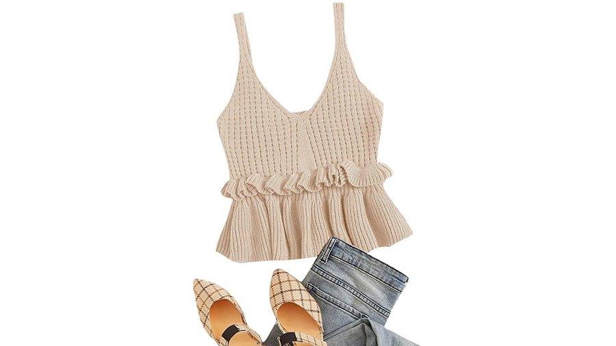 SweatyRocks Women's Casual Knit Sleeveless Ruffle Hem V Neck Peplum Crop Tank Top