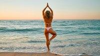 Woman-Beach-Yoga-Stock-Photo