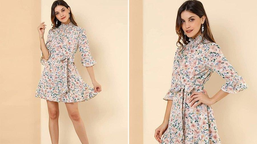 Allegra K Women's Floral 3/4 Bell Sleeve Smocked Belted Ruffle Dress