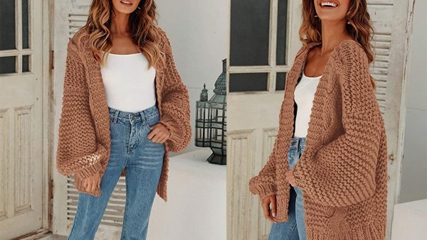MEROKEETY Women's Open Front Oversized Chunky Cable Knit Sweater