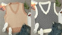 Sdencin Women's Houndstooth Pattern Knit Sweater Vest