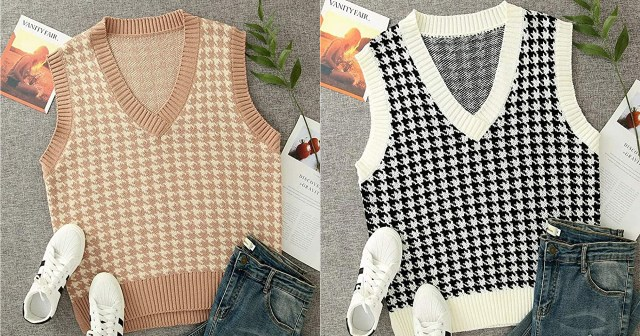This Adorable Houndstooth Sweater Vest Will Complete Your Closet This Fall.jpg