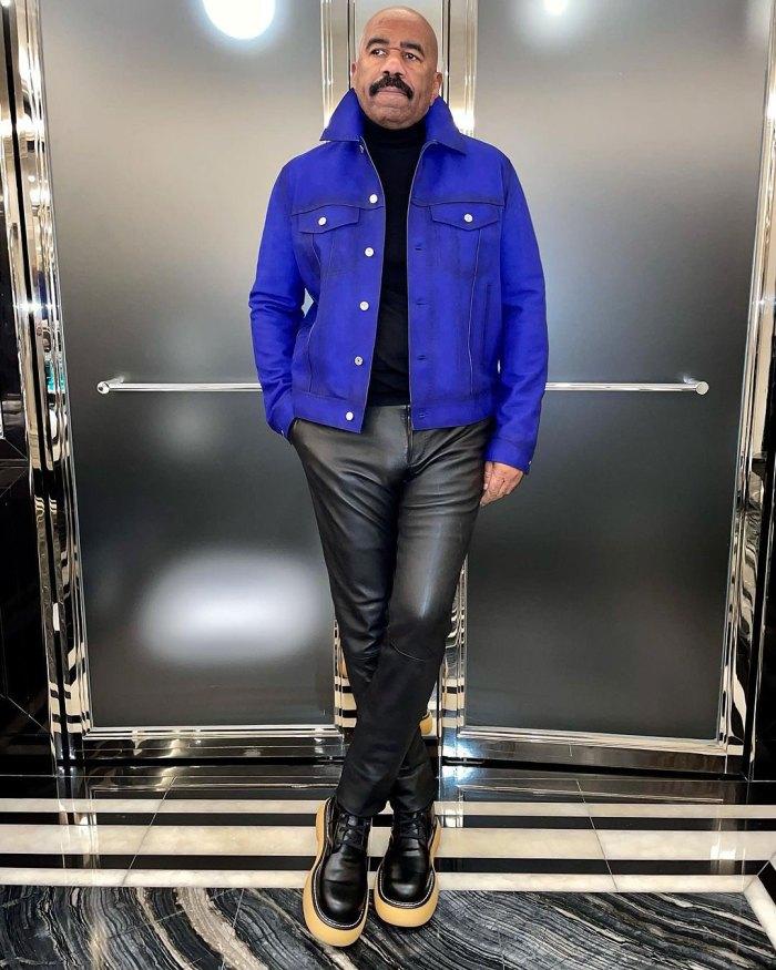 Leather Pants Metal Suit Internet is losing it in Steve Harvey's new wardrobe.