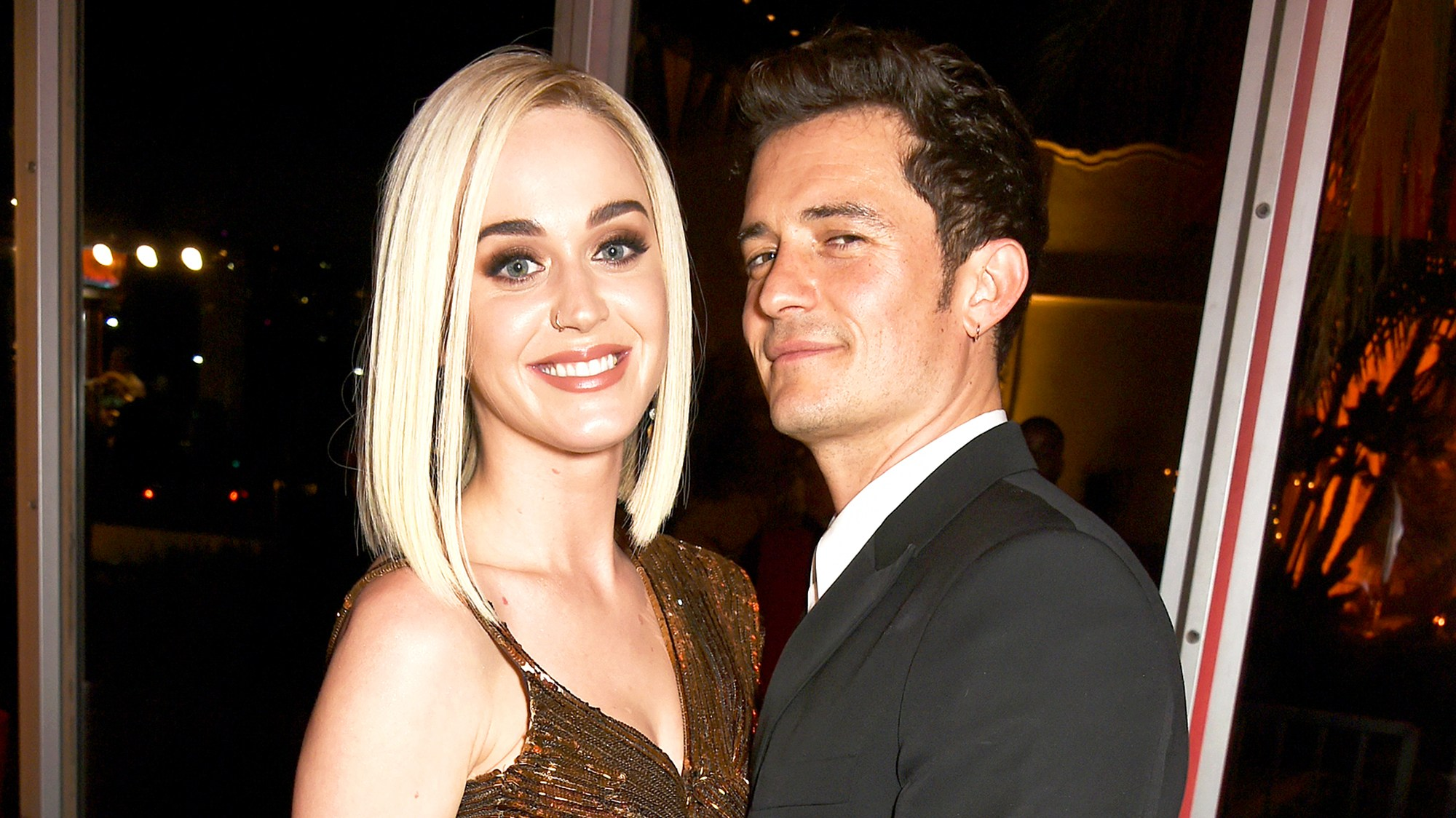 Katy Perry and Orlando Bloom attend the 2017 Vanity Fair Oscar Party in 2017.
