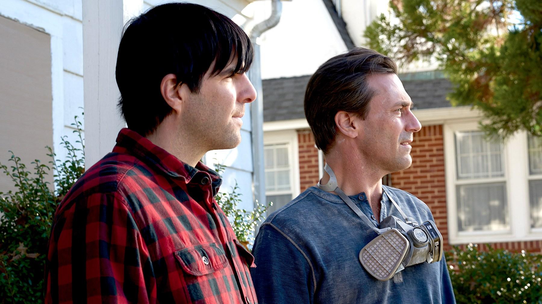 Zachary Quinto as Josh Norman and Jon Hamm as Craig in AARDVARK.