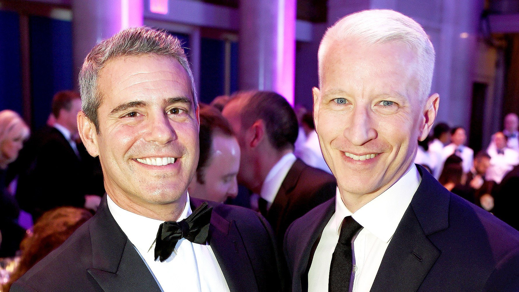 Andy Cohen and Anderson Cooper attend Elton John AIDS Foundation's 14th Annual An Enduring Vision Benefit at Cipriani Wall Street on November 2, 2015 in New York City.