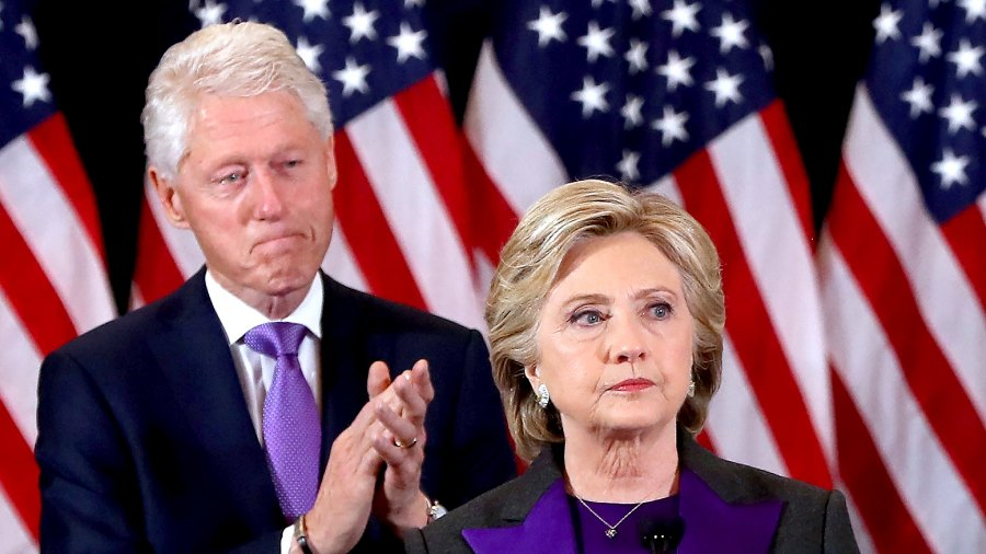 Hillary Clinton and Bill Clinton concedes the presidential election at the New Yorker Hotel on November 9, 2016 in New York City.