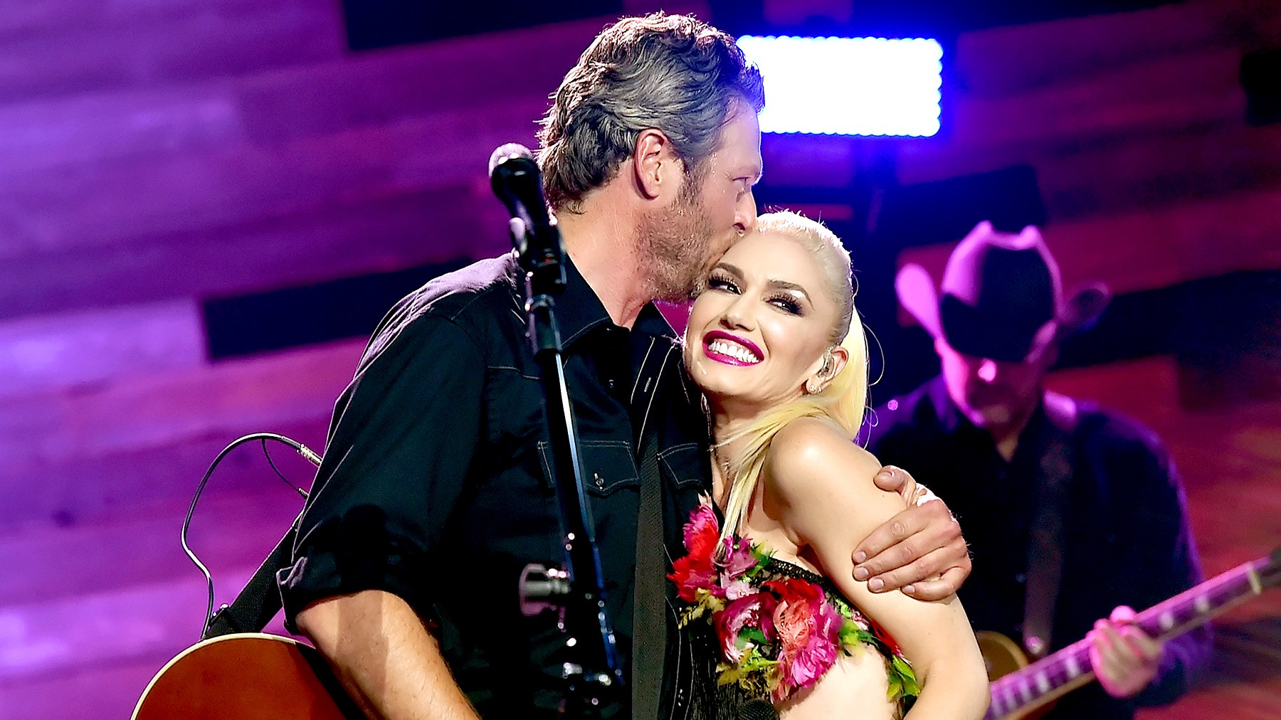 Blake Shelton and Gwen Stefani perform on the Honda Stage at the iHeartRadio Theater on May 9, 2016 in Burbank, California.