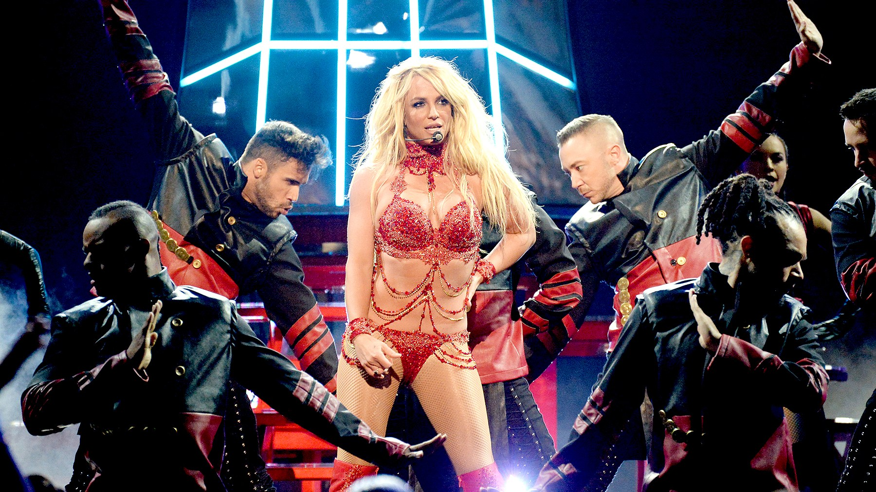 Britney Spears performs on stage during the 2016 Billboard Music Awards at T-Mobile Arena on May 22, 2016, in Las Vegas.