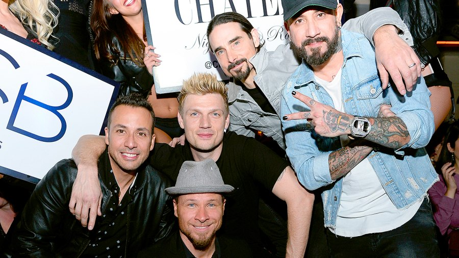 """Howie Dorough, Brian Littrell, Nick Carter, Kevin Richardson and A.J. McLean of the Backstreet Boys attend the after party of the debut of the group's residency """"Larger Than Life"""" at the Chateau Nightclub & Rooftop at the Paris Las Vegas on March 2, 2017 in Las Vegas, Nevada."""