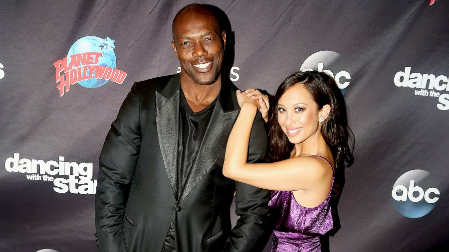 """Terrell Owens and Cheryl Burke pose at ABC's """"Dancing with the Stars"""" Season 5 cast announcement event at Planet Hollywood Times Square on September 6, 2017 in New York City."""