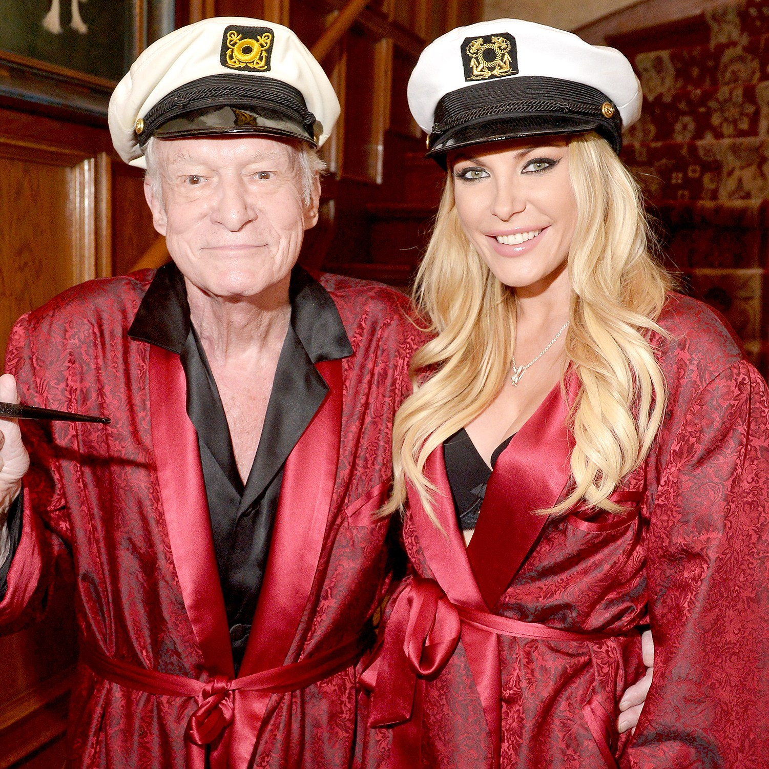 Hugh Hefner and Crystal Hefner attend Playboy Mansion's Annual Halloween Bash at The Playboy Mansion on October 25, 2014 in Los Angeles, California.