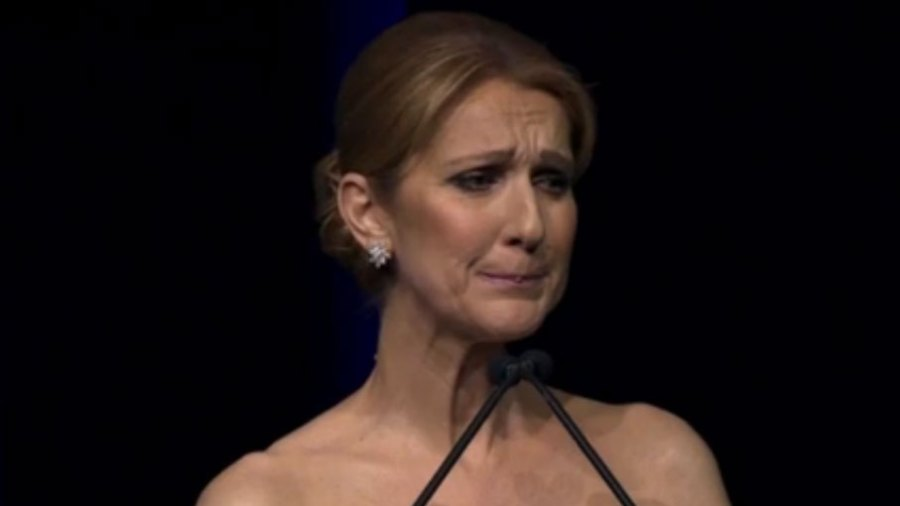 Celine Dion holds back the tears during her tribute to late husband René Angélil