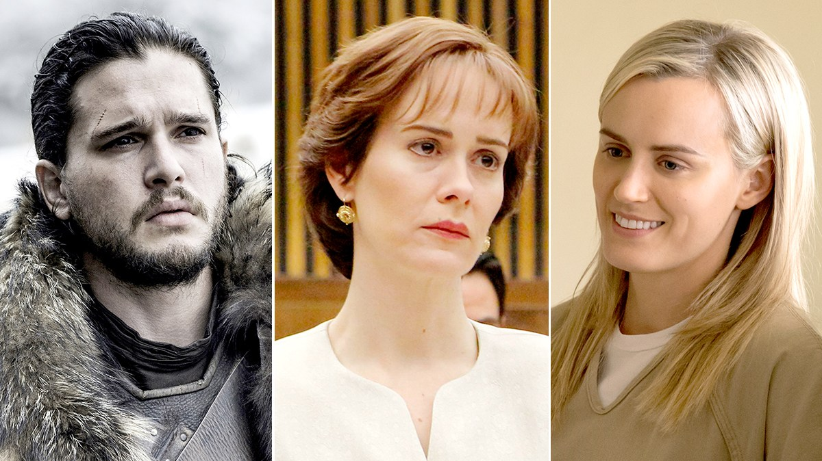 Kit Harington as Jon Snow, Sarah Paulson as Marcia Clark, and Taylor Schilling as Piper Chapman