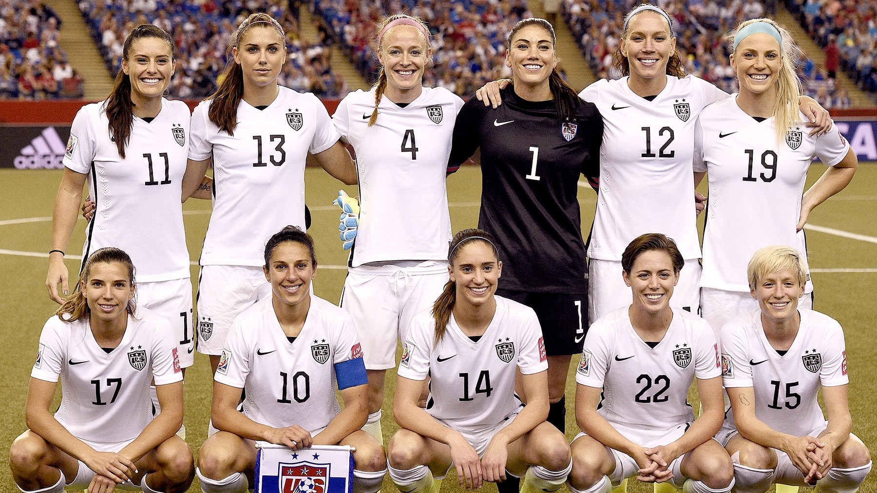 Members of the US Women's National Soccer Team pose during the 2015 FIFA Women's World Cup