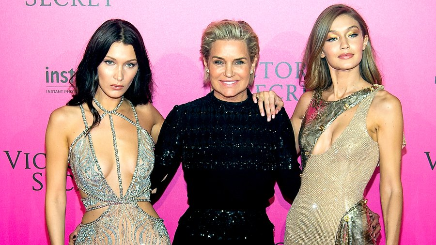 Bella Hadid, Yolanda Foster and Gigi Hadid attend the 2016 Victoria's Secret Fashion Show after party at Le Grand Palais on November 30, 2016 in Paris, France.