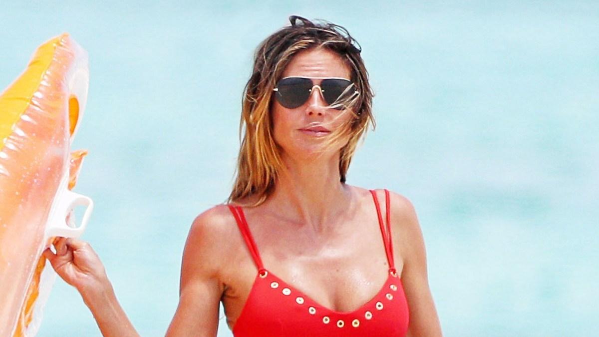 ccbccdcc5cc0f Heidi Klum Channels Her Inner  Baywatch  Goddess in Red Bikini