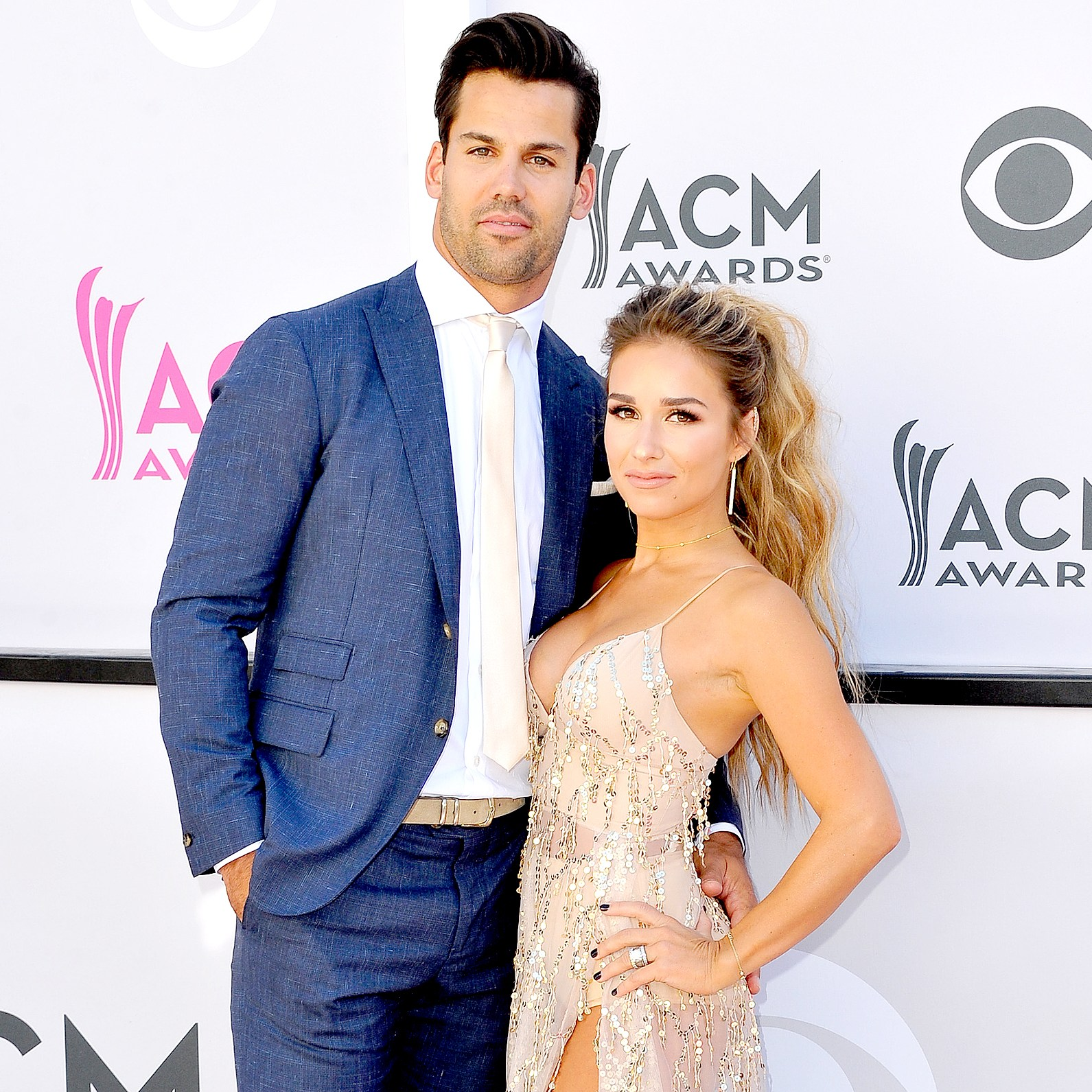 Eric Decker and Jessie James Decker arrive at the 52nd Academy Of Country Music Awards on April 2, 2017 in Las Vegas, Nevada.