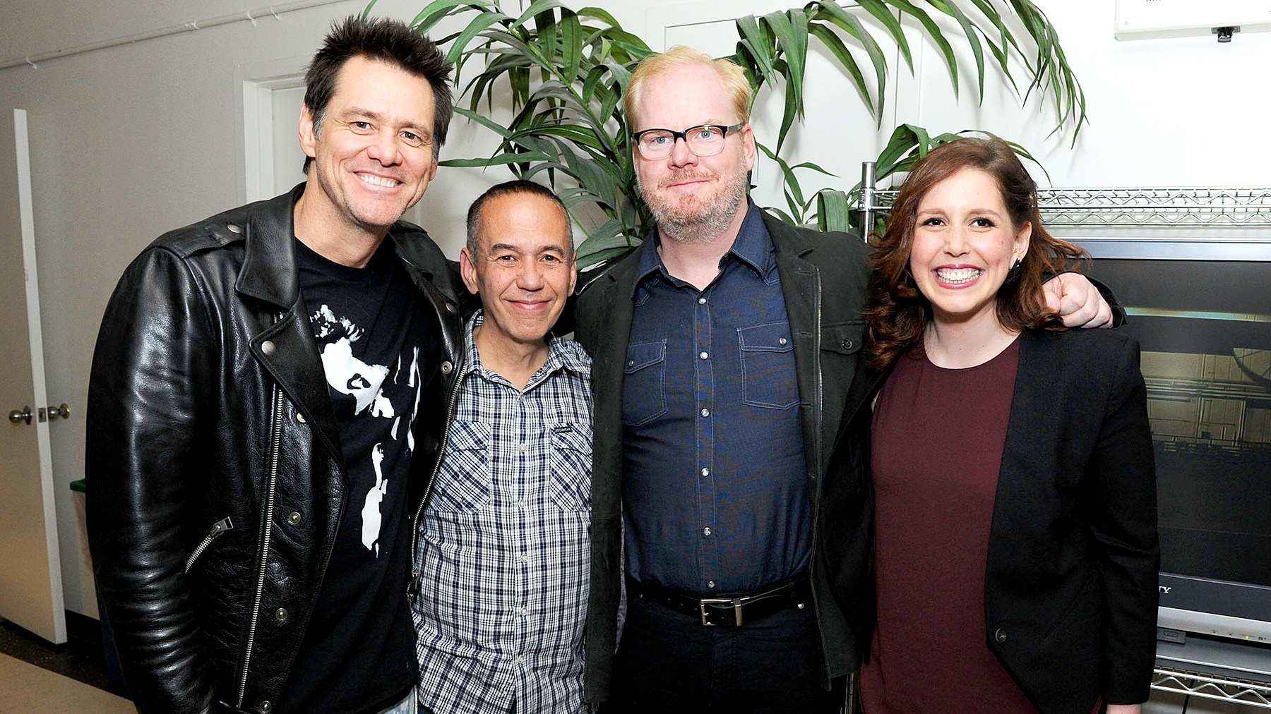 Jim Carrey with Gilbert Gottfried, Jim Gaffigan and Vanessa Bayer (from left) in NYC.