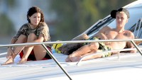 Justin Bieber is seen with model Alexandra Rodriguez as he spends the day on his yacht in Miami, Florida on July 5, 2016.