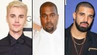 Justin Bieber, Kanye West and Drake