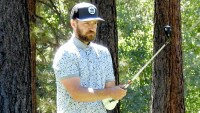 Justin Timberlake plays a round with newly retired NFL quarterback Tony Romo in the American Century Celebrity Championship Golf Tournament.