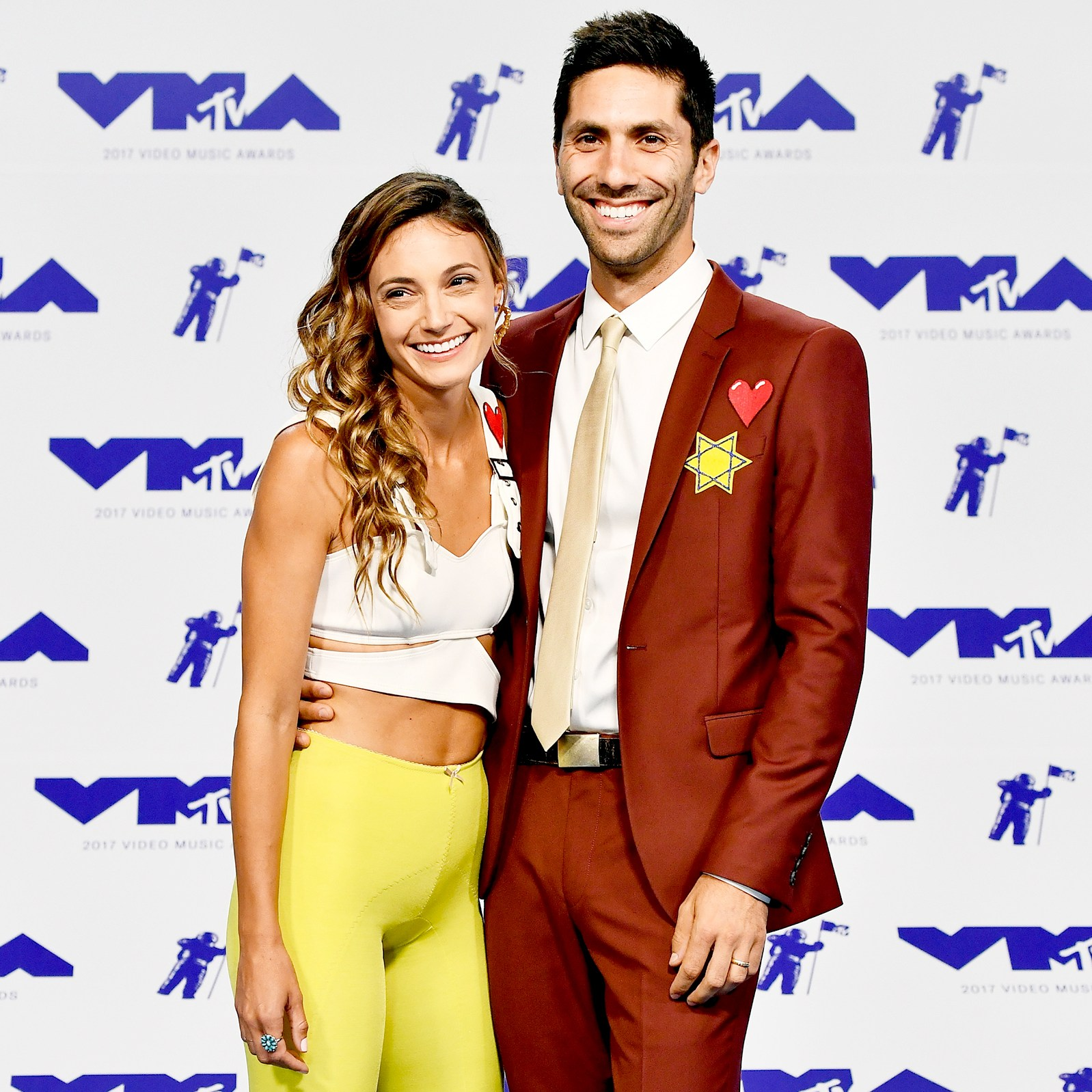 Laura Perlongo and Nev Schulman attend the 2017 MTV Video Music Awards at The Forum on August 27, 2017 in Inglewood, California.