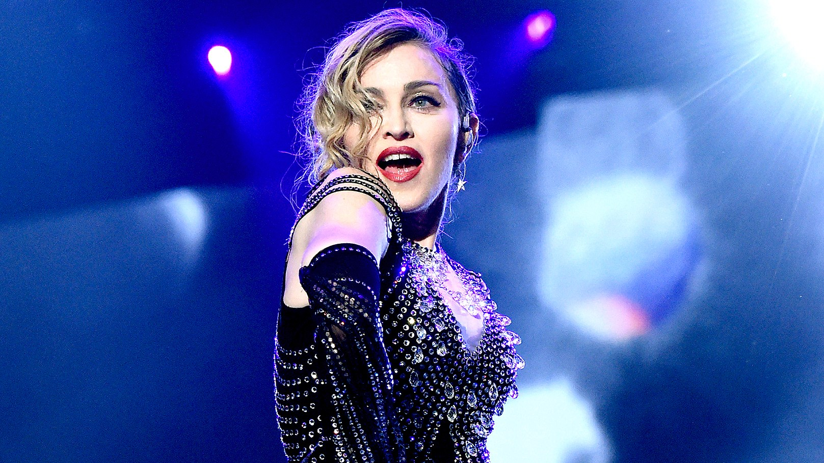"""Madonna performs onstage during her """"Rebel Heart"""" tour at Bell Centre on September 10, 2015."""