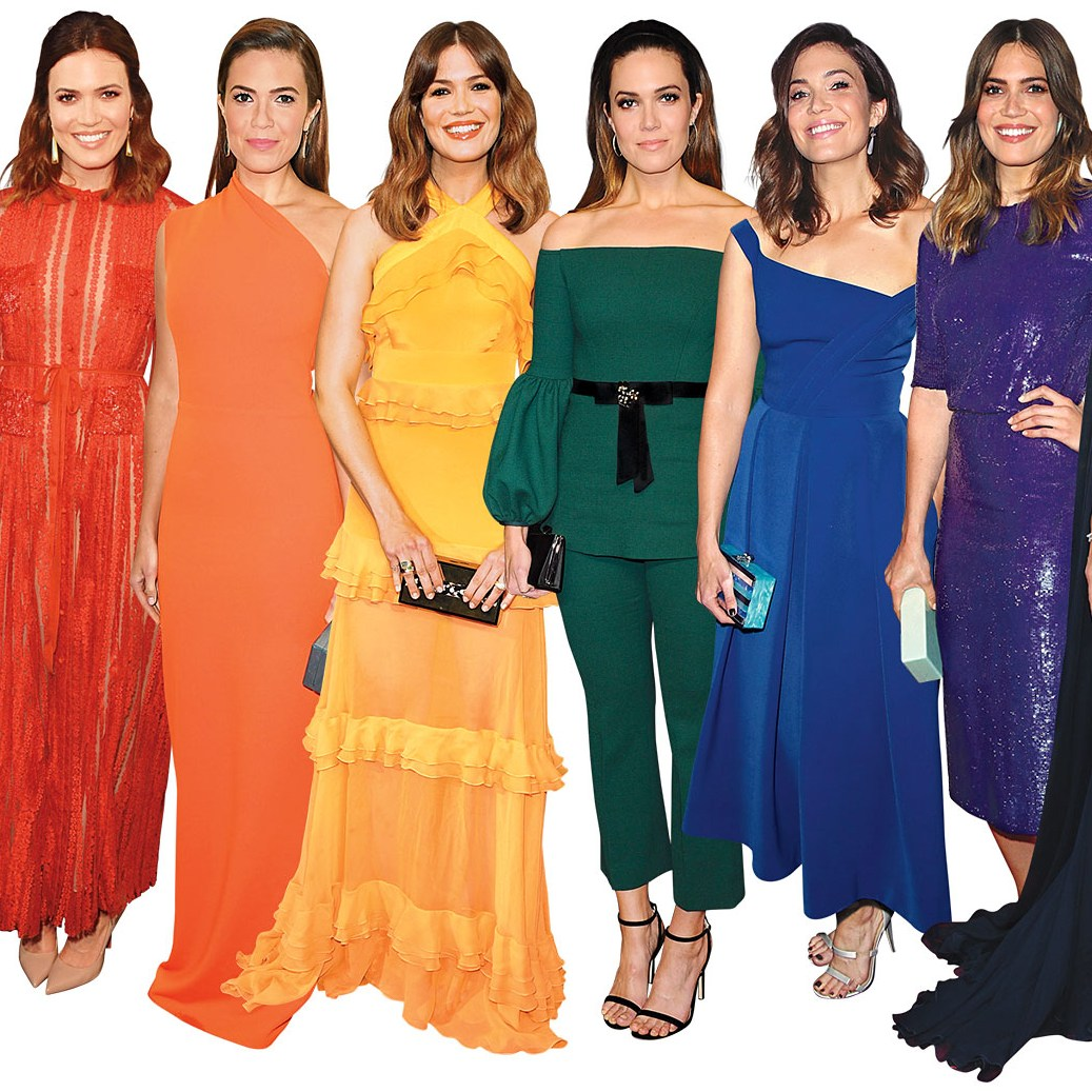 Red Carpet Mandy Moore rainbow dresses