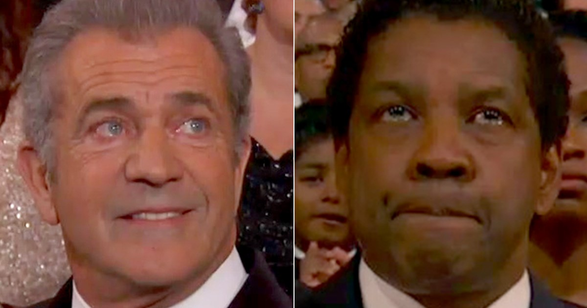 Mel Gibson and Denzel Washington Both Looked Unhappy to Lose at Oscars 2017