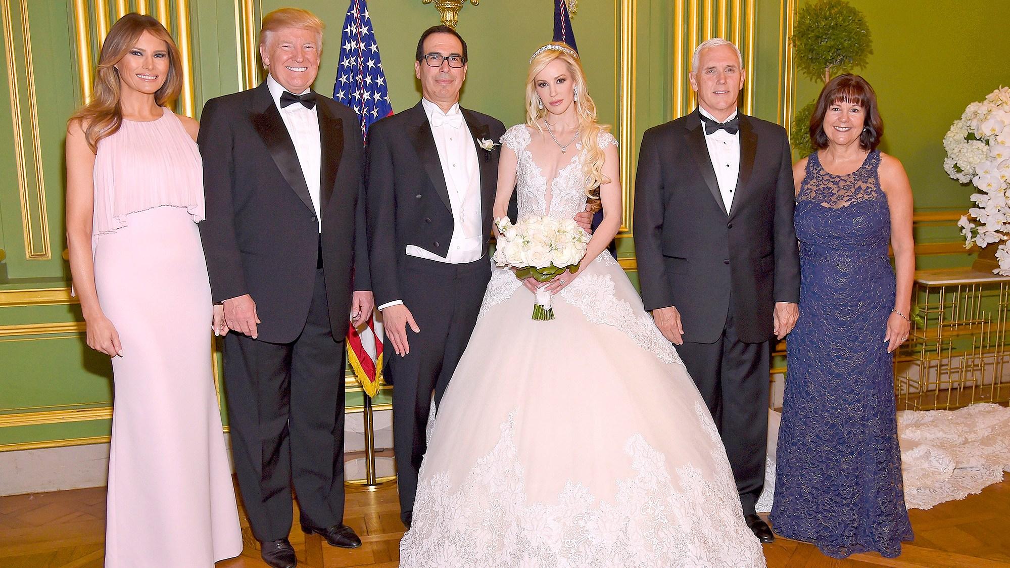 Melania Trump, Donald Trump, Steven Mnuchin, Louise Linton, Mike Pence and Karen Pence
