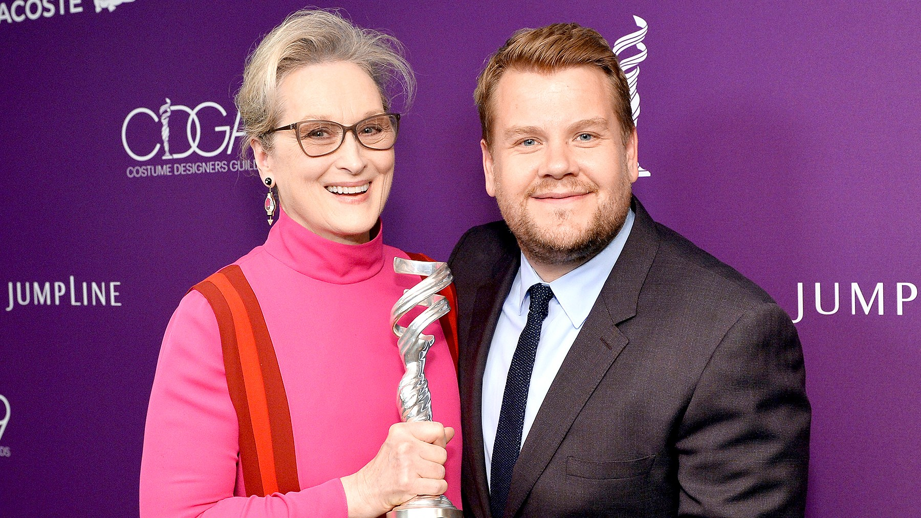 Meryl Streep, recipient of the Distinguished Collaborator Award, and TV personality James Corden attend The 19th CDGA (Costume Designers Guild Awards) with Presenting Sponsor LACOSTE at The Beverly Hilton Hotel on February 21, 2017 in Beverly Hills, California.