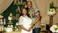 Naturi Naughton and Benjamin pose for a photo during her Baby Shower at The Dazzler Hotel on May 7, 2017 in the Brooklyn borough of New York City.