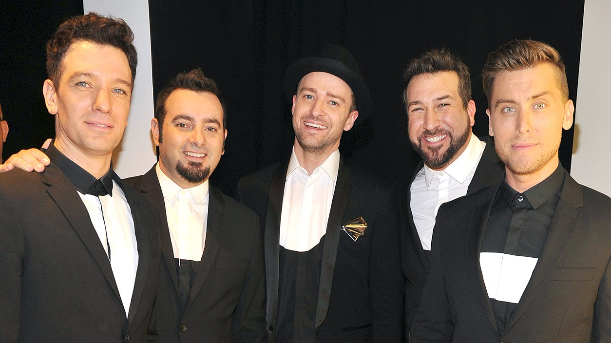 JC Chasez, Chris Kirkpatrick, Justin Timberlake, Joey Fatone and Lance Bass of N'Sync attends the 2013 MTV Video Music Awards at the Barclays Center on August 25, 2013 in the Brooklyn borough of New York City.